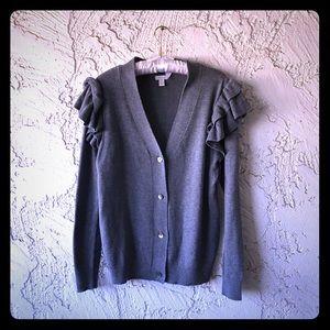 Hinge Ruffle Sleeve Grey Dark Heather Cardigan